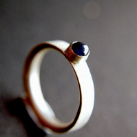 Brushed Silver and Sapphire Ring