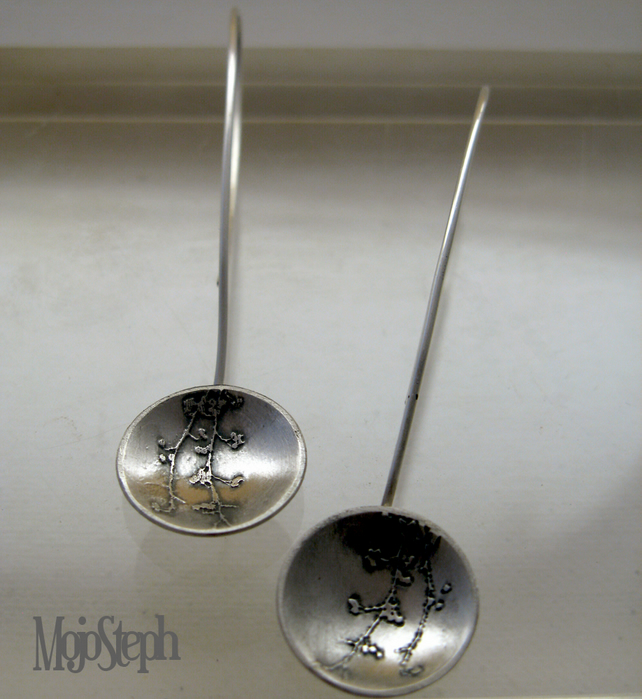 Handmade Etched Silver Berry Dome Ear Drops