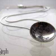 Handmade Etched Silver Berry Dome Pendant