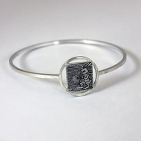 Square White Rabbit Stencil Graffiti Etched Sterling Silver Bangle - Handmade