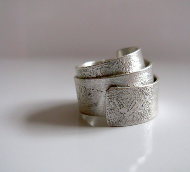 Faded Memories Etch Sterling Silver Wrap Ring - Handmade