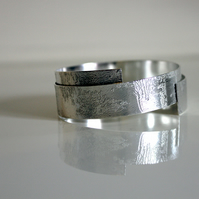 Faded Memories Etch Sterling Silver Wrap Bangle - Handmade