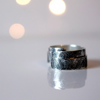 Sterling silver adjustable ring; Fern repeat pattern handmade wrap ring