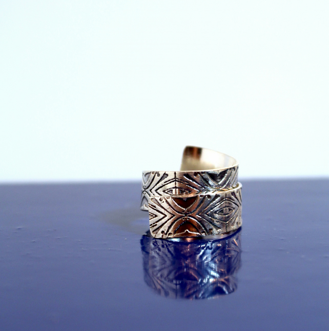 Sterling Silver etched adjustable wrap ring - handmade graffiti inspired