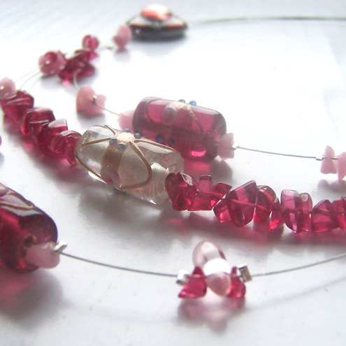 Fuschia & Pink 3 stranded beaded necklace