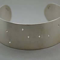 Great Bear Brushed Silver Cuff Bracelet. The Plough Constellation. Astronomy.