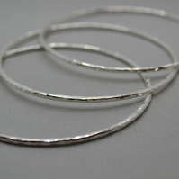 Set of 3 Sterling Silver Hallmarked Bangles 68mm.