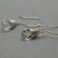 AAA Crystal Pear Cut Briolette Drop Earrings. Sterling and fine silver.