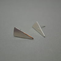 Isosceles Triangle Slice Studs. 80s Inspired Earrings. Eco Silver. Hand Crafted