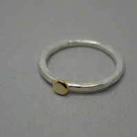 Hammered Eco Silver and Recycled Gold Nugget Ring