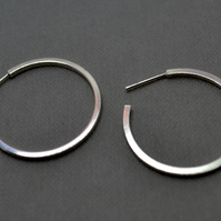 Square Wire Sterling Silver Hoop Earrings. Minimalist. Simple.