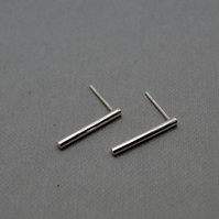 Cylinder Bar Stud Earrings in Eco Sterling Silver.
