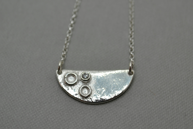 Surface of the Moon Stacking Necklace. Sterling Silver Handmade with CZ