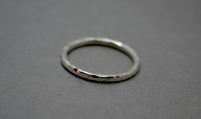 Hammered Stacking Ring in Eco Silver. Sterling Silver