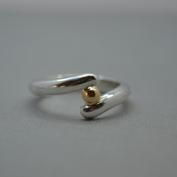 Twist Ring in Eco Sterling Silver with a recycled 9ct Gold Nugget Ball.