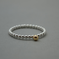Sterling Silver Beaded Ring With 9ct Gold Nugget Ball