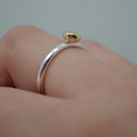 Large Gold Nugget Ring. Recycled Sterling Silver and 9ct Gold. Hallmarked.
