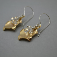Handmade Copper Holly Leaf Drop Earrings with AAA Crystal Rondelles. Silver