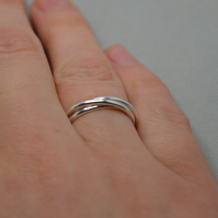 Sterling Silver Lightweight Triple Ring. Russian Wedding Ring Style. Minimalist