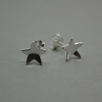 Star Earrings in Eco Sterling Silver. Stud Earrings