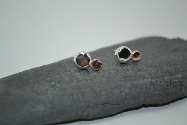Recycled Sterling Silver and Copper Nugget Planet Earrings. Handmade Studs.