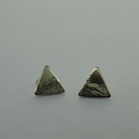 Mountain Engraved Triangle Geometric Sterling Silver Stud Earrings.
