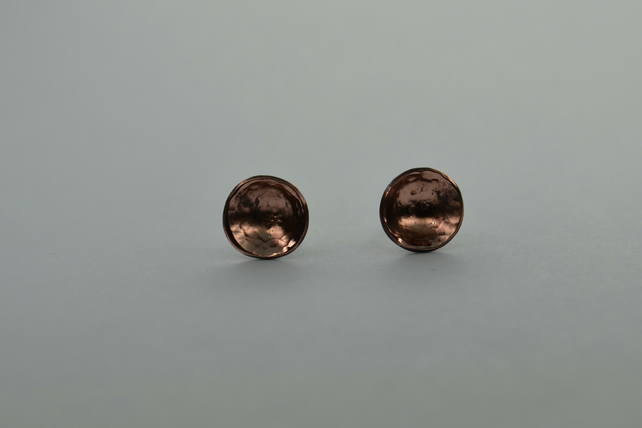 Domed Copper and Silver Stud Earrings