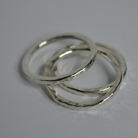 Hammered Stacking Rings. Hand Crafted Sterling Silver Rings. Set of Three