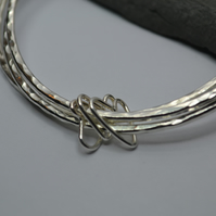 Sterling Silver Bangles With Joining Hearts. Set of 3. Choose your hearts.