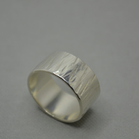 Tree Bark Ring in Sterling Silver 10mm.