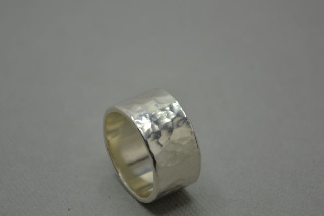 Hammered Dotty Band Ring. Hand Crafted Sterling Silver Ring. 10mm or 5mm.