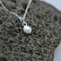 Recycled Hammered Nugget Dot Necklace. Sterling Silver