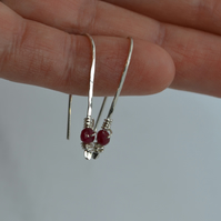 Threaders with Rubies. Minimalist Hammered Eco Silver Line Drops