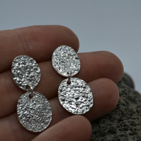 Oval Coin Textured Drop Earrings in Reticulated Eco Silver