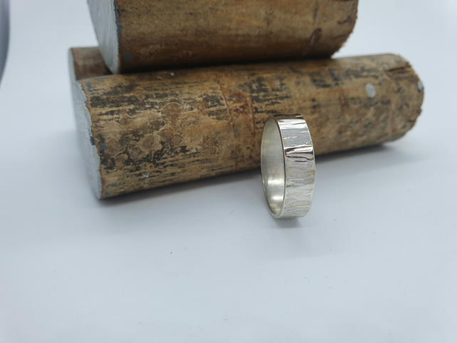 Bark Ring. Hammered Eco Silver with a Wood Bark Effect. 5mm