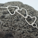 Joining Hearts Link Bracelet. Hand Crafted Hammered Eco Silver.