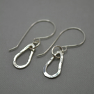 Tear Drop Hammered Eco Silver Earrings. Drop Earrings