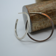 Tree Bark Inspired Square Wire Textured Hoop Earrings.