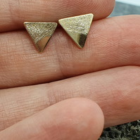 Gold Mountain Stud Earrings. Recycled 9ct Gold Engraved Triangles Geometric Stud