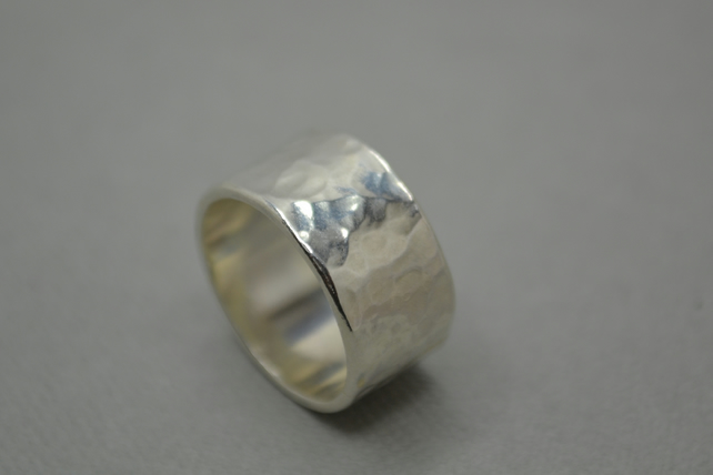 Hammered Dotty Band Ring. Hand Crafted Silver Jewellery. 10mm or 5mm.