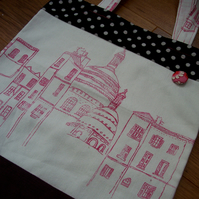 Screen printed Paris illustration bag - pink, white and spotty