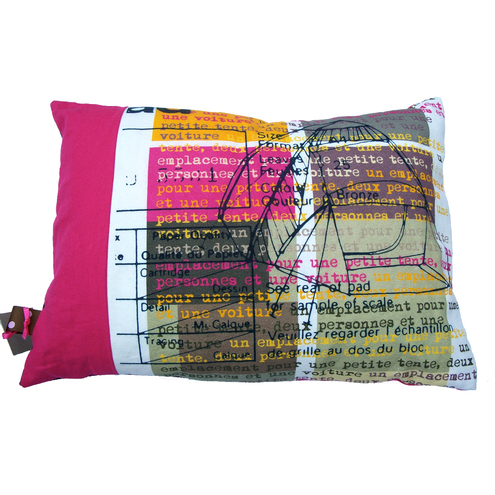 Camping in France pink canvas cushion