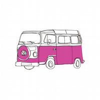 Pink Campervan illustration