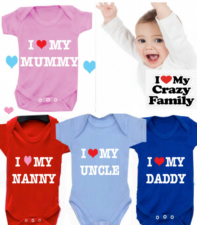 BODYSUIT I heart Mummy MESSAGE ME for a different FAMILY MEMBER