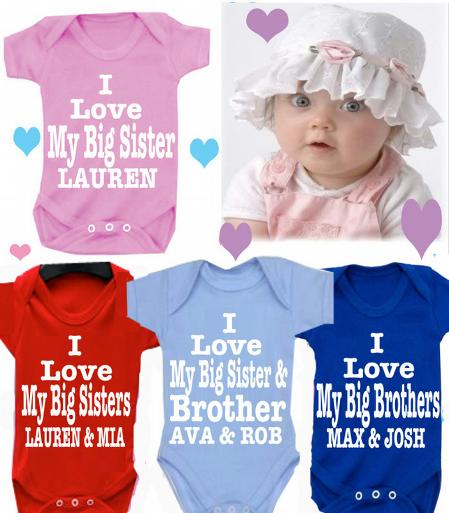 BODYSUIT sister & brother with names MESSAGE ME for a different FAMILY MEMBER