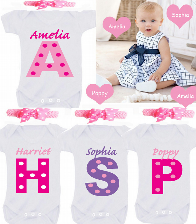 Personalised bodysuit any name ANY COLOUR COMBO plus headband