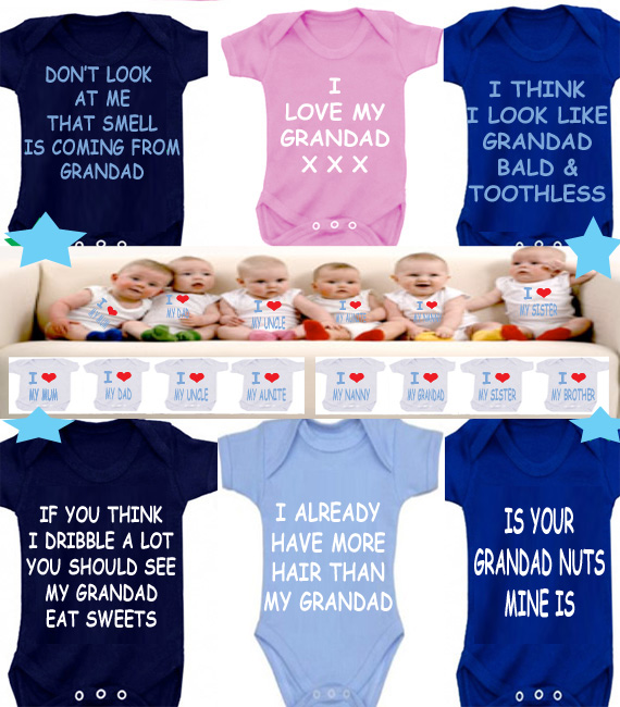BODYSUIT Grandad slogans  MESSAGE ME for a different FAMILY MEMBER