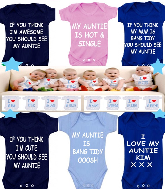 BODYSUIT AUNTIE slogans  MESSAGE ME for a different FAMILY MEMBER