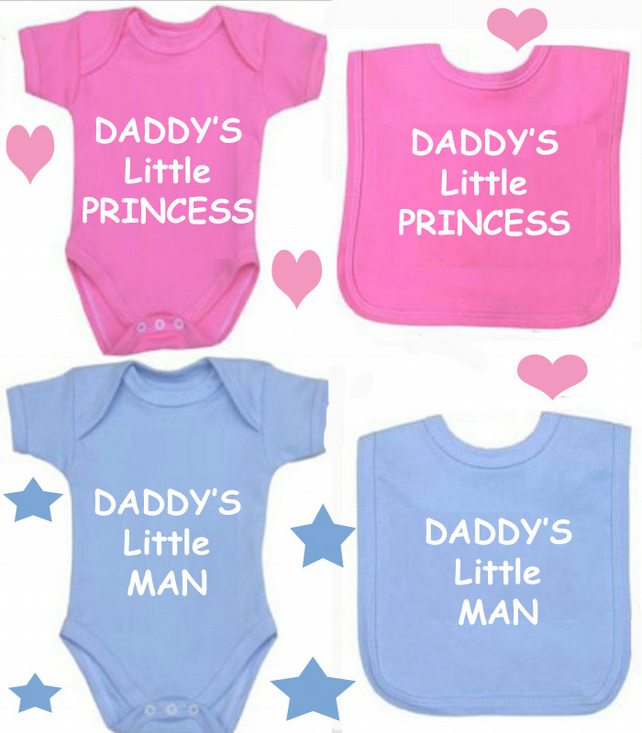 BODYSUIT DADDY'S PRINCESS OR DADDYS LITTLE MAN SET FOR YOUR BABY