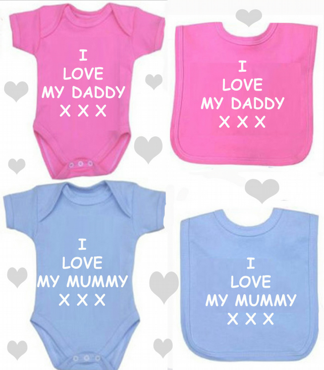 BODYSUIT I LOVE MY DADDY OR MUMMY SET FOR YOUR BABY
